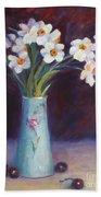 Daffodils And Cherries Beach Towel