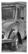 Dairy Truck - Old Rosenbergers Dairies - Black And White Beach Towel