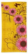 Daisies Design - S01y Beach Towel by Variance Collections