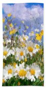Daisies On A Hill - Impressionism Beach Towel