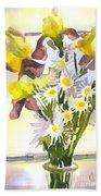 Daisies With Yellow Irises Beach Towel