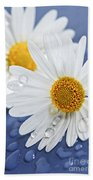 Daisy Flowers With Water Drops Beach Sheet