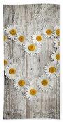 Daisy Heart On Old Wood Beach Towel