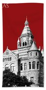 Dallas Skyline Old Red Courthouse - Dark Red Beach Towel