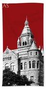 Dallas Skyline Old Red Courthouse - Dark Red Beach Sheet