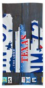 Dallas Texas Skyline License Plate Art By Design Turnpike Beach Towel by Design Turnpike