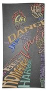 Dance Lovers Silhouettes Typography Beach Towel