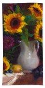 Dance With Me - Sunflower Still Life Beach Towel by Talya Johnson