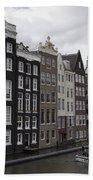 Dancing Houses Damrak Canal Amsterdam Beach Towel