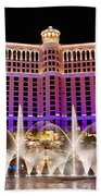 Dancing Waters - Bellagio Hotel And Casino At Night Beach Towel