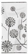 Dandelion Seeds Grey Beach Towel
