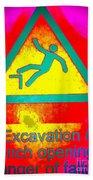 Danger Of Falling Beach Towel