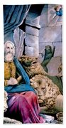 Daniel In The Lions Den Beach Towel by Currier and Ives