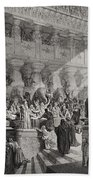 Daniel Interpreting The Writing On The Wall Beach Towel by Gustave Dore