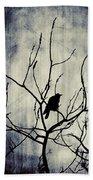 Crow In Dark Lights Beach Towel