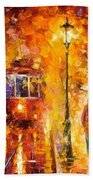 Date By The Trolley - Palette Knife Oil Painting On Canvas By Leonid Afremov Beach Towel
