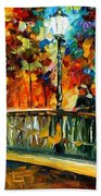 Date On The Bridge - Palette Knife Oil Painting On Canvas By Leonid Afremov Beach Towel