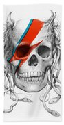 David Bowie Aladdin Sane Medusa Skull Beach Towel
