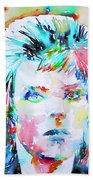 David Bowie - Watercolor Portrait.6 Beach Towel