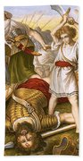 David Slaying Goliath Beach Towel