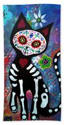 Day Of The Dead Cat Beach Towel
