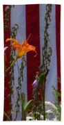 Daylily And Old Glory Beach Towel