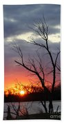 Dead Tree At Sunset Beach Towel