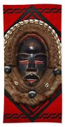 Dean Gle Mask By Dan People Of The Ivory Coast And Liberia On Red Leather Beach Towel