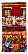 Decarie Hot Dog Restaurant Cosmix Comic Store Montreal Paintings Hockey Art Winter Scenes C Spandau Beach Towel