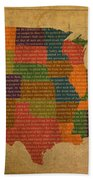 Declaration Of Independence Word Map Of The United States Of America Beach Towel