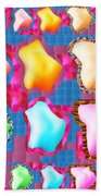 Deco Pattern Patchup Collage Crystals Jewels Rose Flower Petals Beach Towel