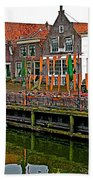 Decorations For Orange Day To Celebrate The Queen's Birthday In Enkhuizen-netherlands Beach Towel