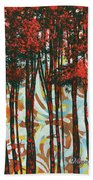 Decorative Abstract Floral Bird Landscape Painting Forest Of Dreams II By Megan Duncanson Beach Towel by Megan Duncanson