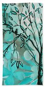Decorative Abstract Floral Birds Landscape Painting Bird Haven I By Megan Duncanson Beach Towel