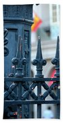 Decorative Iron Fence In New Orleans Beach Towel