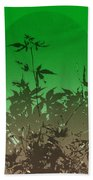 Deep Green Haiku Beach Towel