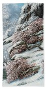 Deer In A Snowy Landscape Beach Towel