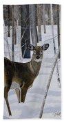 Deer In The Snow Beach Towel