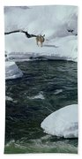 104618-v-deer On The Snow Bank Beach Towel