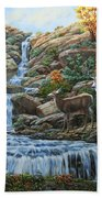 Deer Painting - Tranquil Deer Cove Beach Towel by Crista Forest