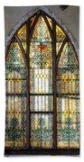 Defiant Stain Glass Church Window #1 Beach Towel