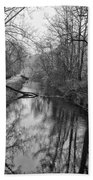 Delaware Canal In Black And White Beach Sheet