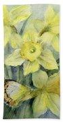 Delias Mysis Union Jack Butterfly On Daffodils Beach Towel