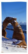 Delicate Arch In Snow Arches National Park Utah Beach Towel