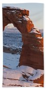 Delicate Arch With Snow Arches National Park Utah Beach Towel