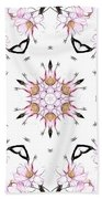 Delicate Cherry Blossom Fractal Kaleidoscope Beach Towel