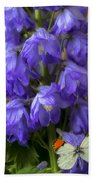 Delphinium And Butterfly Beach Towel