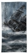 Deluged By The Wave Beach Towel