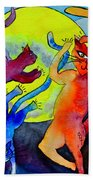 Demon Cats Dance By The Light Of The Moon Beach Towel by Beverley Harper Tinsley