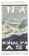 Denali Postage Stamp  Beach Towel